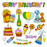 Happy Birthday. Set of festive doodle icons. For Happy Birthday, annual and other holidays Stock Image