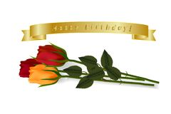 Happy Birthday. Set of golden vector ribbons with voThree multicolored roses lying on the surface with realistic shadows and a gol stock illustration