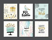 Happy Birthday. Set of birthday greeting card Vector Illustration