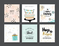 Happy Birthday. Set of birthday greeting card Royalty Free Illustration
