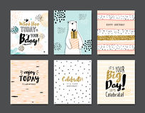 Happy Birthday. Set of birthday greeting cards Royalty Free Stock Photos