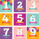 Happy Birthday set of greeting cards Royalty Free Stock Photos
