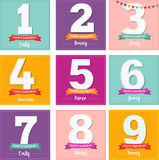 Happy Birthday set of greeting cards Stock Photography