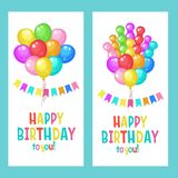 Happy birthday. Set of greeting cards.. Multi-colored balloons. Happy birthday to you. Set of greeting cards.. Multi-colored balloons. Colorful garlands of royalty free illustration