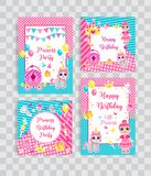 Happy birthday set greeting or invitation cards for a little princess in lol doll surprise style. Template for your royalty free illustration