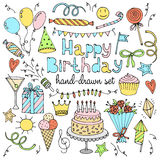 Happy birthday set. Hand drawn collection. Vector illustration Stock Images