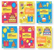 Happy birthday set infographics template concept. Icons for your product or design, web and mobile applications. Vector. Flat with long shadow illustration on Royalty Free Stock Photography