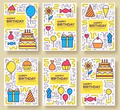 Happy birthday set infographics template concept. Icons for your product or design, web and mobile applications. Vector. Flat with long shadow illustration on Stock Photography