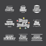 Happy Birthday set. Label design collection. Birthday card. Vector illustration Stock Image