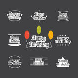 Happy Birthday set. Label design collection. Birthday cards. Vector illustration Royalty Free Stock Photography