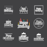 Happy Birthday set. Label design collection. Birthday themed car. Ds. Vector illustration Stock Photography