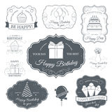 Happy birthday set label template of emblem element for your product or design, web and mobile applications with text Royalty Free Stock Photo