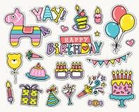 Happy  Birthday. Set of birthday party design elements Royalty Free Stock Photography