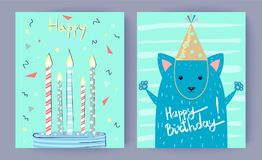 Happy Birthday Set of Posters Vector Illustration. Happy Birthday set of posters with candles in cake and blue fox in festive cap. Vector illustration with Royalty Free Stock Photos