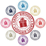 Happy birthday set of stamps. Vector illustration Stock Photography