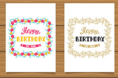 Happy Birthday. A set of templates for birthday cards. Hand lettering in flower frame. Happy Birthday. A set of templates for birthday cards. Hand lettering in Stock Photos