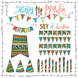 Happy Birthday set. Vector set of doodles festive garlands, candles and party hats isolated on white background Stock Image