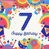 Seven 7 year birthday party greeting card number Stock Image