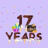Happy Birthday seventeen 17 year card. Vector illustration Royalty Free Stock Photo