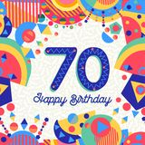 70 seventy year birthday party greeting card. Happy Birthday seventy 70 year fun design with number, text label and colorful decoration. Ideal for party Royalty Free Stock Photos