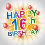 Happy Birthday Shows Sixteenth 16Th And Celebrations Stock Photography