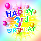 Happy Birthday Shows Third Cheerful And Celebrate Royalty Free Stock Images