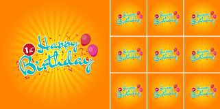 Happy Birthday sign with Balloons over Confetti 1st - 10th Years. Eps10 Vector Set Stock Image