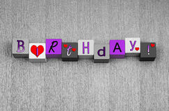 Happy Birthday sign, banner or design for card & greetings. Stock Photography