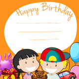 Happy Birthday sign with children and toys Royalty Free Stock Images