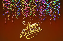 Happy birthday sign design background. Birthday background with colorful confetti vector. Art Stock Image