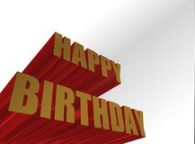Happy birthday sign. Extruded 3D happy birthday sign Stock Image