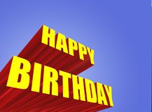 Happy birthday sign. Extruded 3D happy birthday sign Royalty Free Stock Image