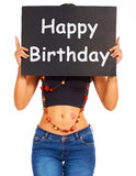 Happy Birthday Sign For Greeting From Girl Royalty Free Stock Images