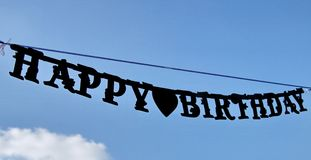 HAPPY BIRTHDAY sign hung on the blue sky Stock Photos
