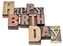 Happy Birthday sign in letterpress wood type Royalty Free Stock Photo