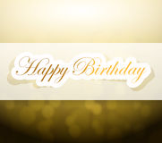 Happy birthday sign and lights illustration Royalty Free Stock Images
