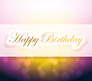 Happy birthday sign and lights illustration Royalty Free Stock Photo