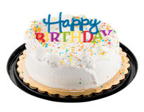 Happy birthday sign on white iced cake Stock Photography