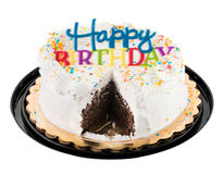 Happy birthday sign on white iced cake Stock Image
