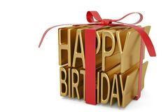 Happy birthday sign wrapped up with ribbon and bow isolated on w. Hite background 3D illustration royalty free stock image