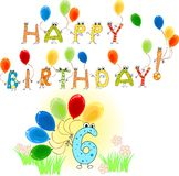 Happy Birthday six Stock Photography