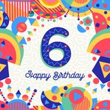 Six 6 year birthday party greeting card number Royalty Free Stock Photo