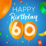 Happy birthday 60 sixty year balloon party card. Happy Birthday 60 sixty years fun design with balloon number and colorful confetti decoration. Ideal for party Royalty Free Stock Photo
