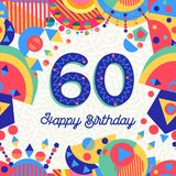 60 sixty year birthday party greeting card. Happy Birthday sixty 60 year fun design with number, text label and colorful decoration. Ideal for party invitation vector illustration