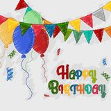 Happy birthday sketch greetings card Royalty Free Stock Photos