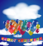 Happy Birthday sky background invitation or congratulation card template. Royalty Free Stock Images