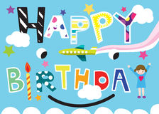 Happy Birthday at Sky Illustration Royalty Free Stock Photography