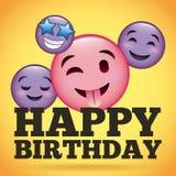 Happy birthday smile emoji happy tongue out. Vector illustration Stock Image