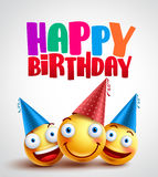 Happy birthday smileys celebrant with happy friends, funny vector banner design. In white background with colorful text. Vector illustration vector illustration