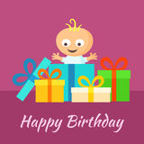 Happy Birthday - Smiling Baby with Gifts. Happy Birthday card with smiling little baby and gifts in flat design style Royalty Free Stock Photography